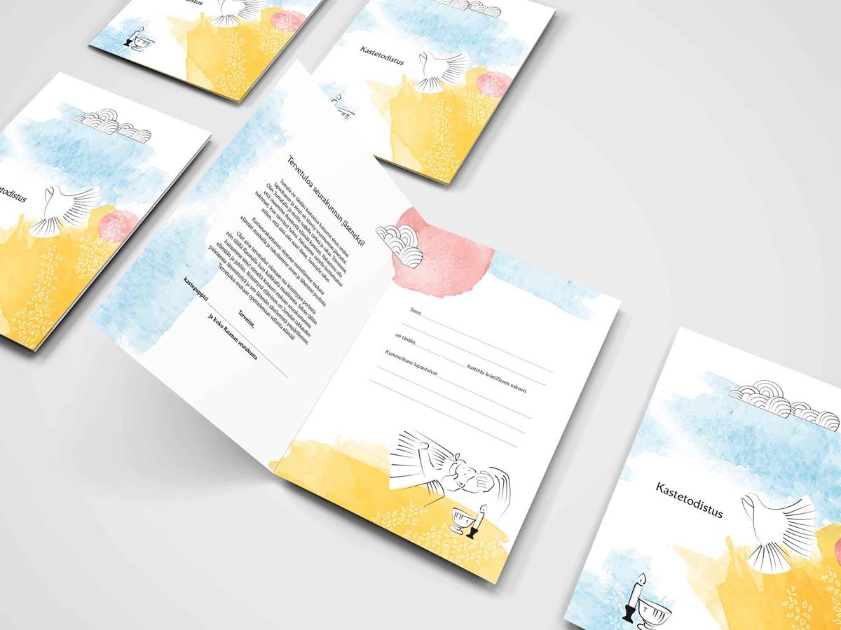 Viestintäosakeyhtiö Bonden kanssa yhteistyössä tehty Kastetodistuksen kuvitus kolmannelle osapuolelle.
